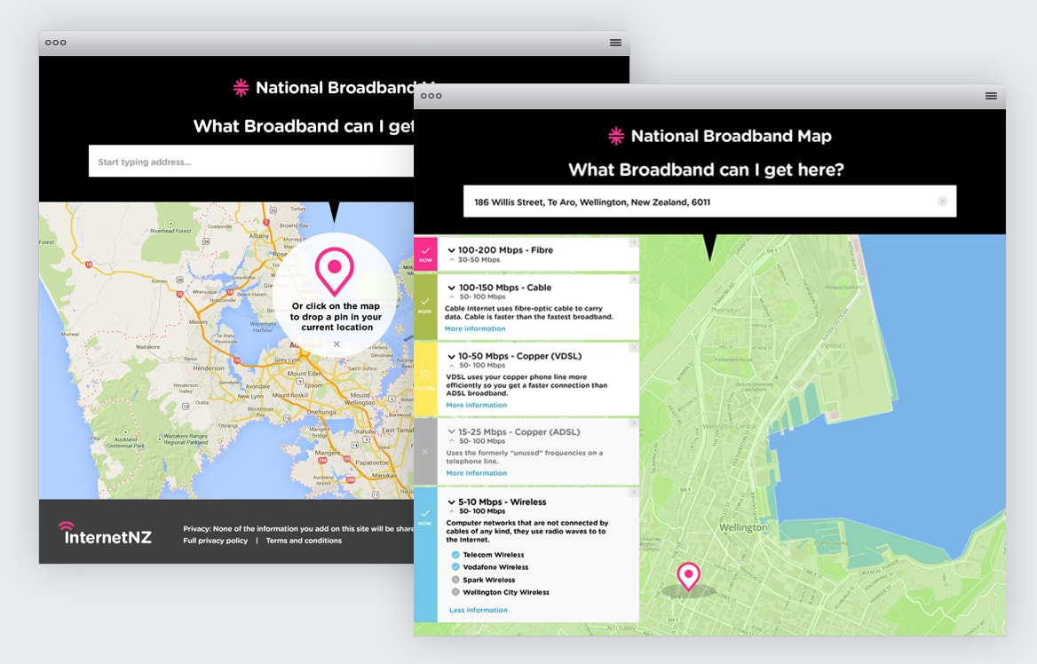 Internet NZ national broadband map